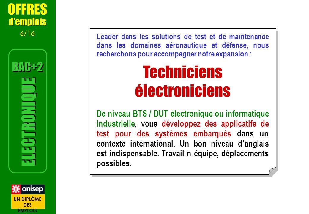 Techniciens électroniciens ELECTRONIQUE OFFRES BAC+2 d'emplois