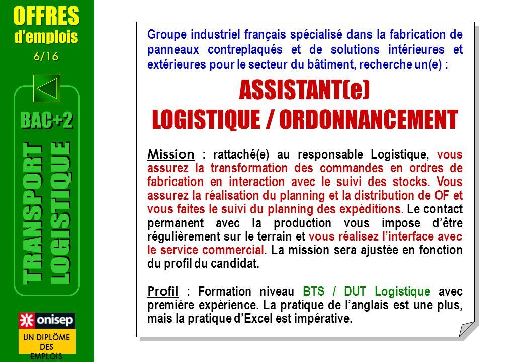 LOGISTIQUE / ORDONNANCEMENT