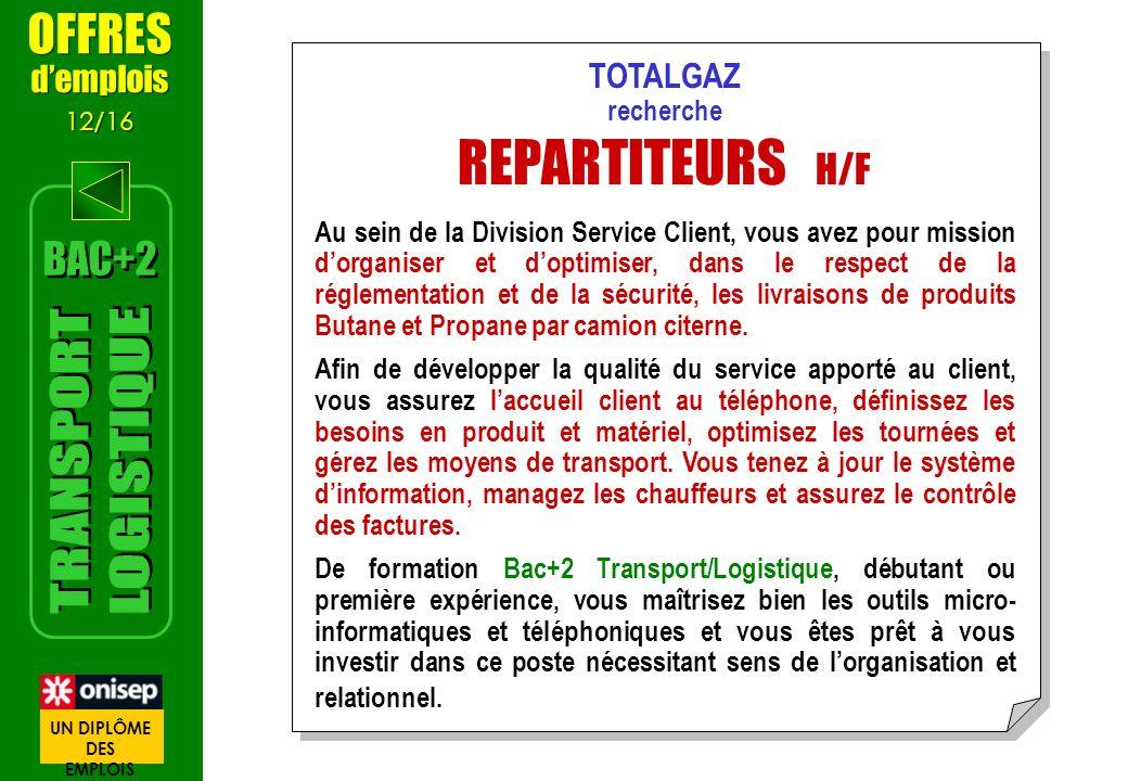 REPARTITEURS H/F TRANSPORT LOGISTIQUE OFFRES BAC+2 d'emplois TOTALGAZ