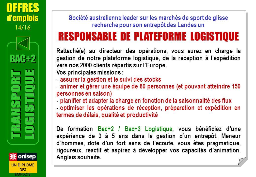 RESPONSABLE DE PLATEFORME LOGISTIQUE
