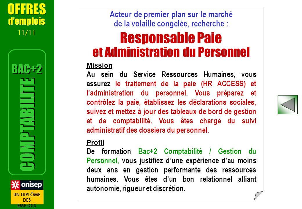 Responsable Paie COMPTABILITE OFFRES et Administration du Personnel