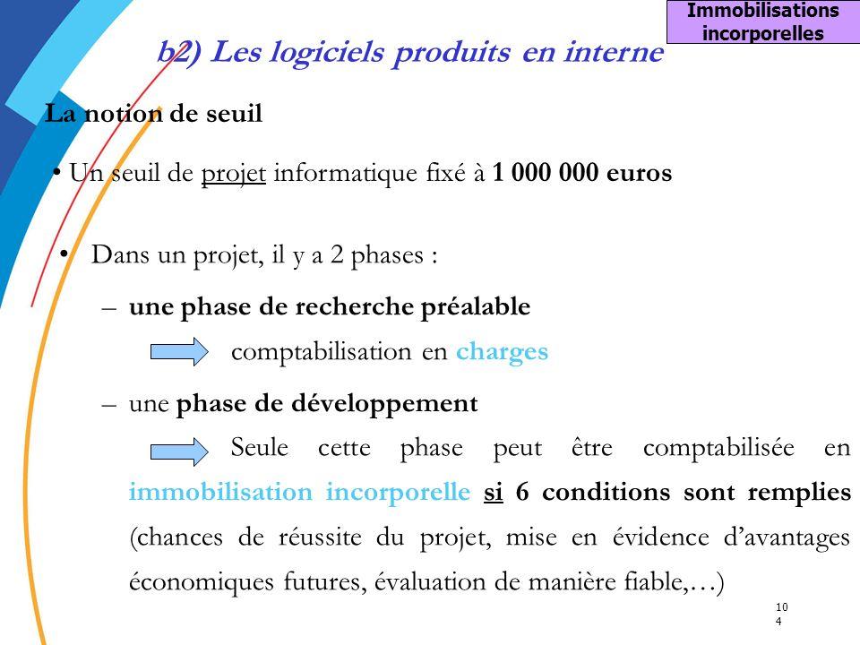 Immobilisations incorporelles b2) Les logiciels produits en interne