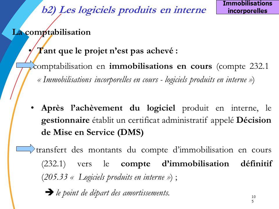 b2) Les logiciels produits en interne Immobilisations incorporelles