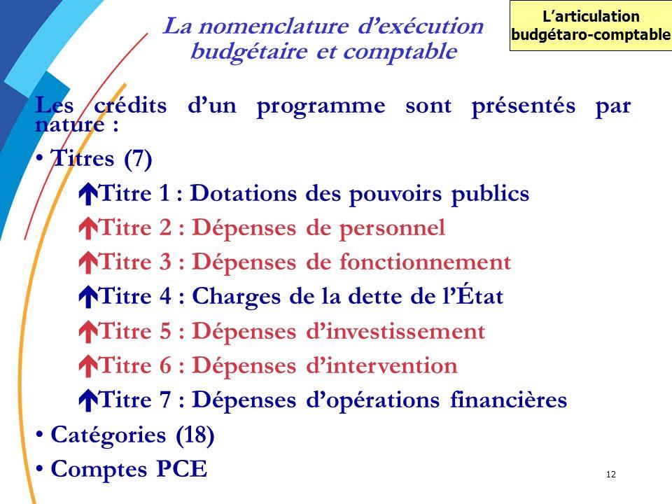 La nomenclature d'exécution budgétaire et comptable