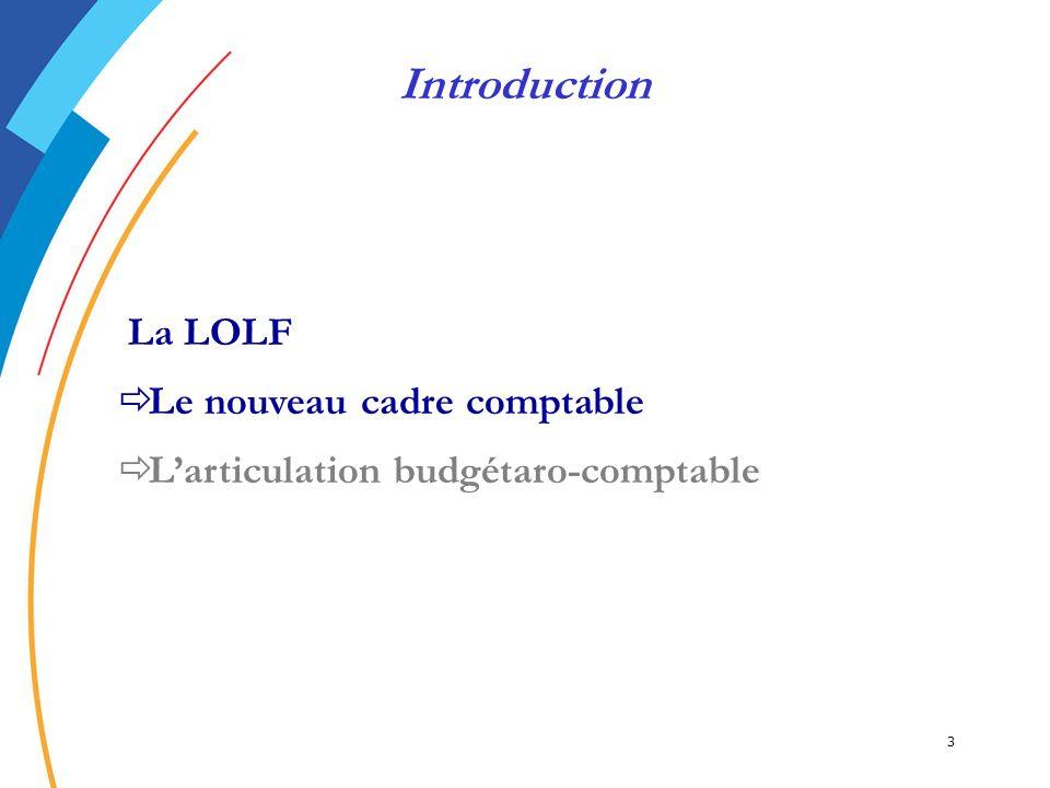 Introduction Le nouveau cadre comptable