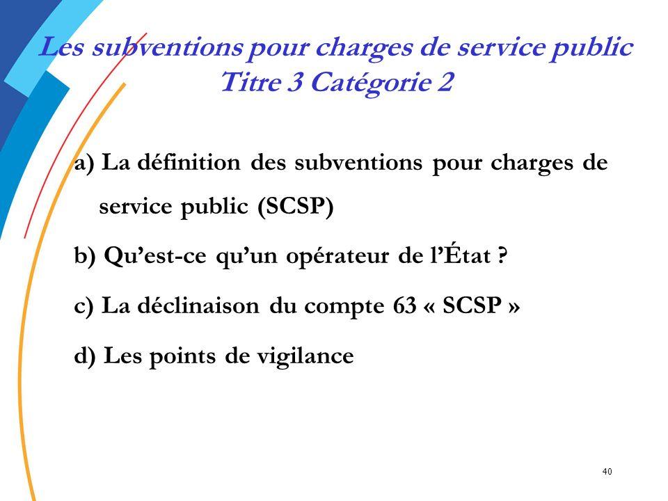 Les subventions pour charges de service public Titre 3 Catégorie 2