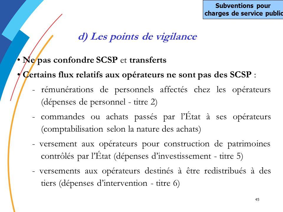 Subventions pour charges de service public d) Les points de vigilance
