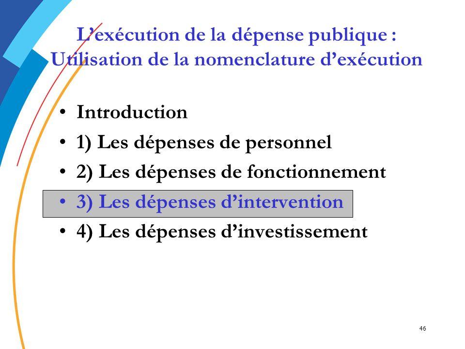 L'exécution de la dépense publique : Utilisation de la nomenclature d'exécution