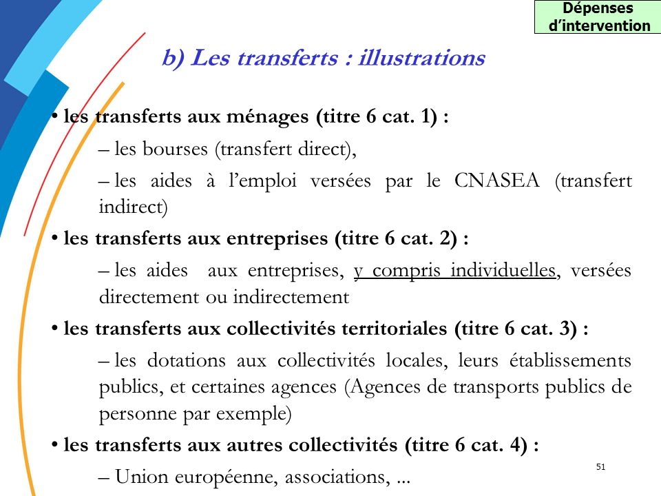 Dépenses d'intervention b) Les transferts : illustrations