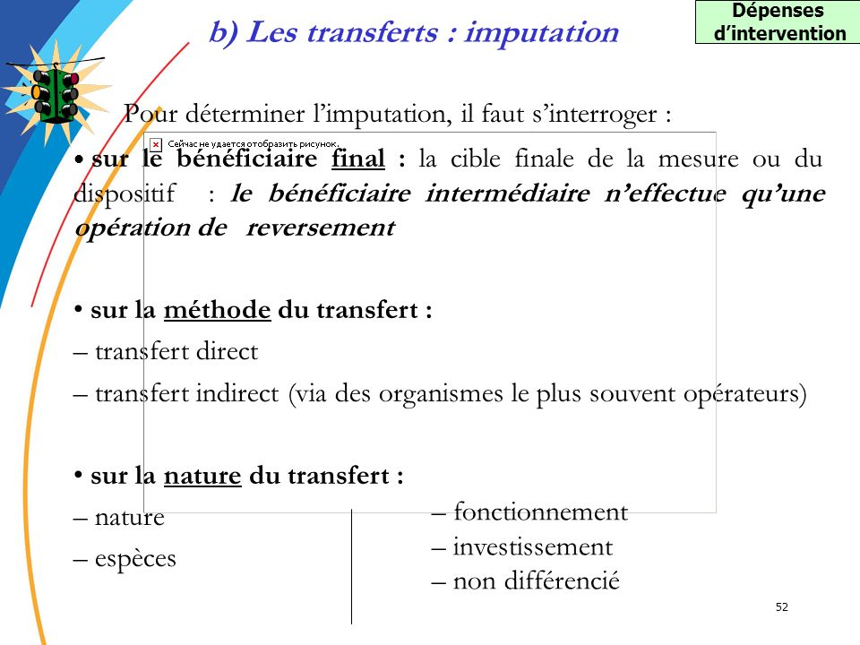 b) Les transferts : imputation Dépenses d'intervention