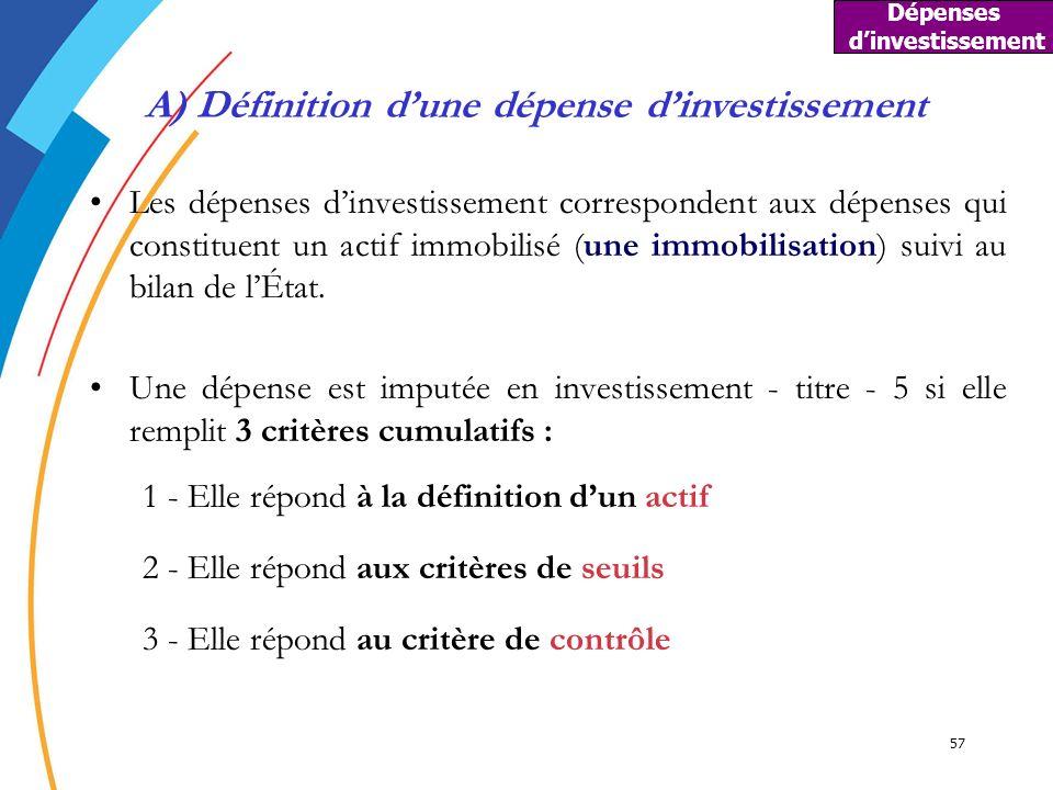 Dépenses d'investissement A) Définition d'une dépense d'investissement