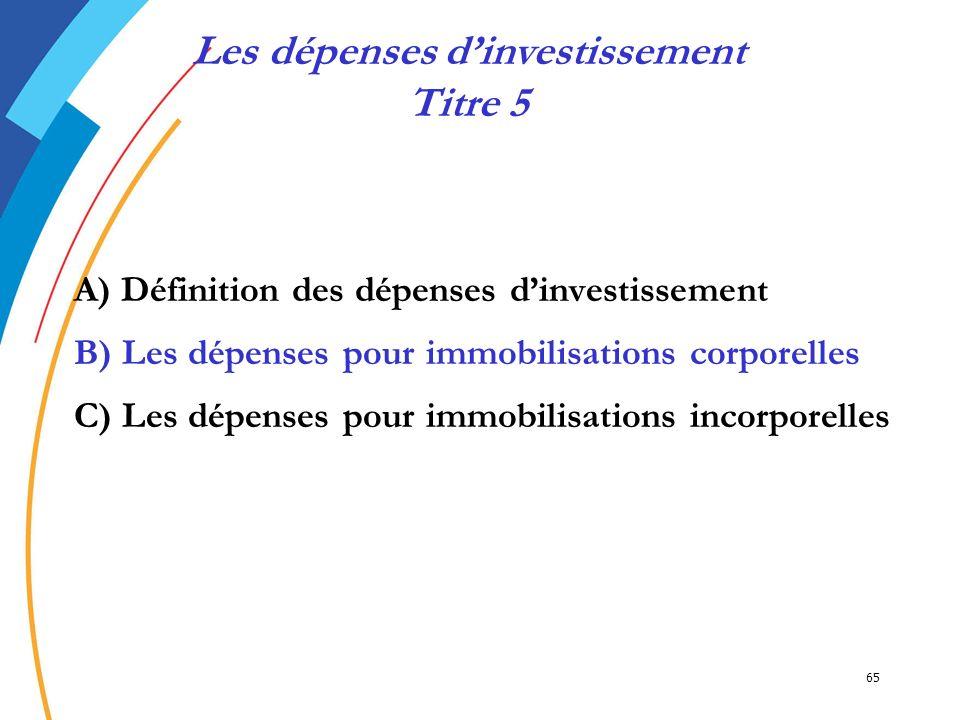Les dépenses d'investissement Titre 5