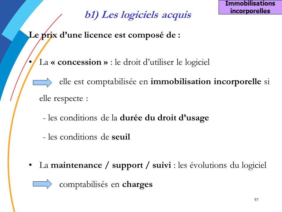 Immobilisations incorporelles b1) Les logiciels acquis