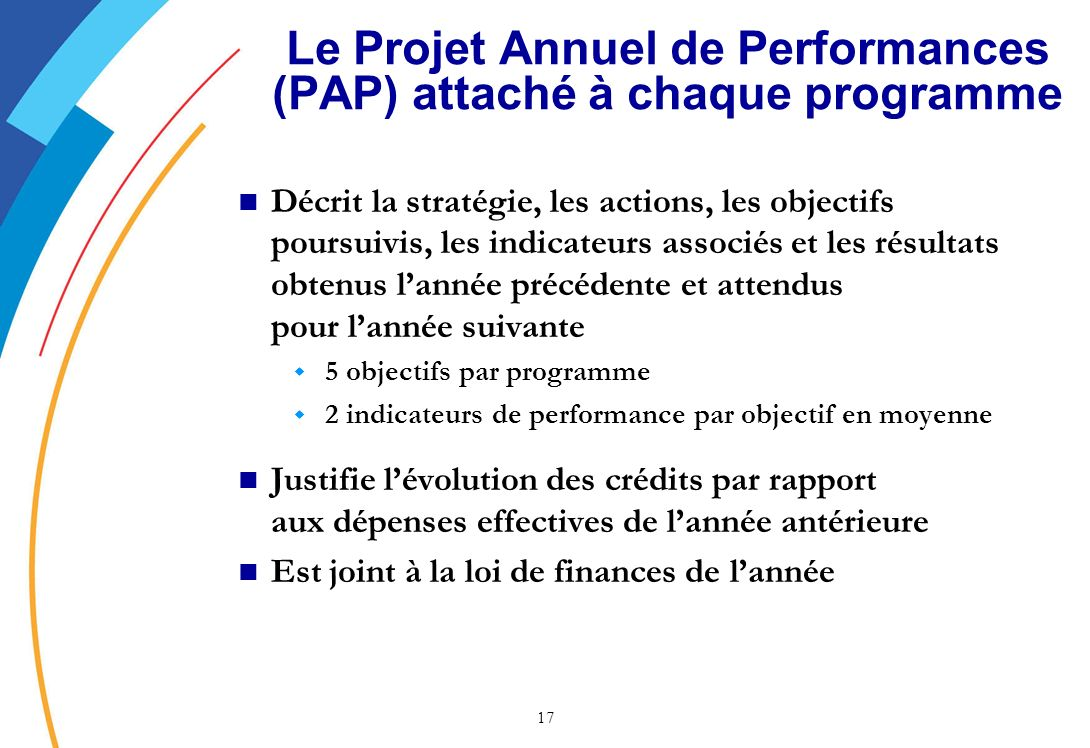 Le Projet Annuel de Performances (PAP) attaché à chaque programme
