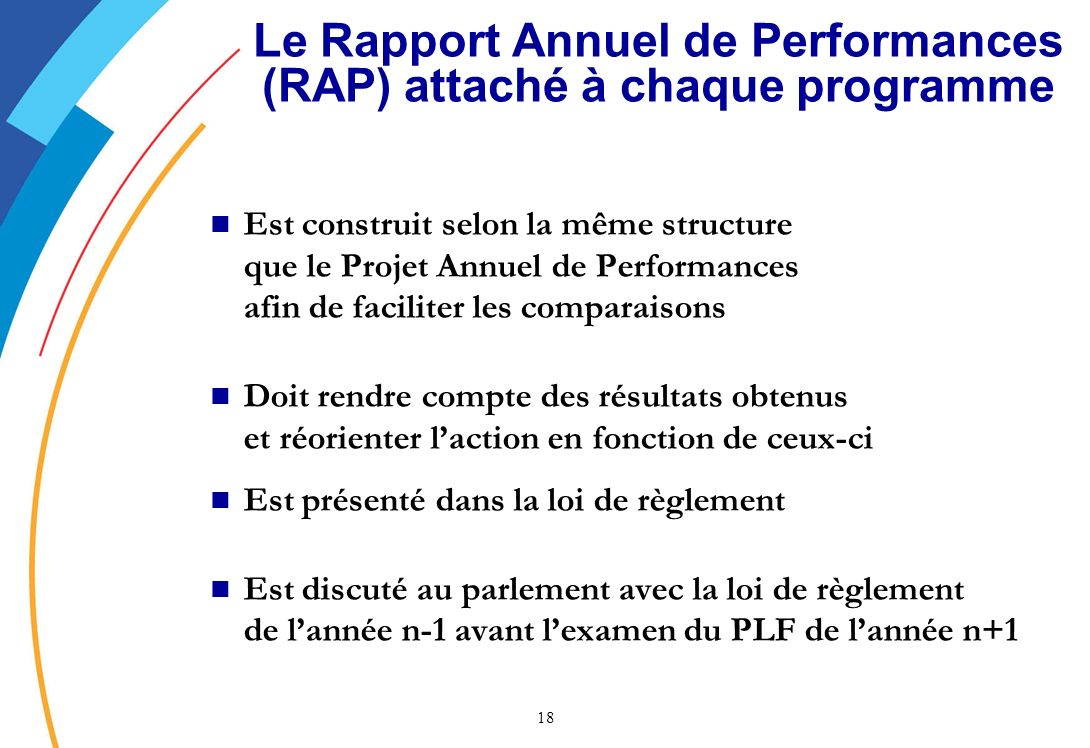 Le Rapport Annuel de Performances (RAP) attaché à chaque programme