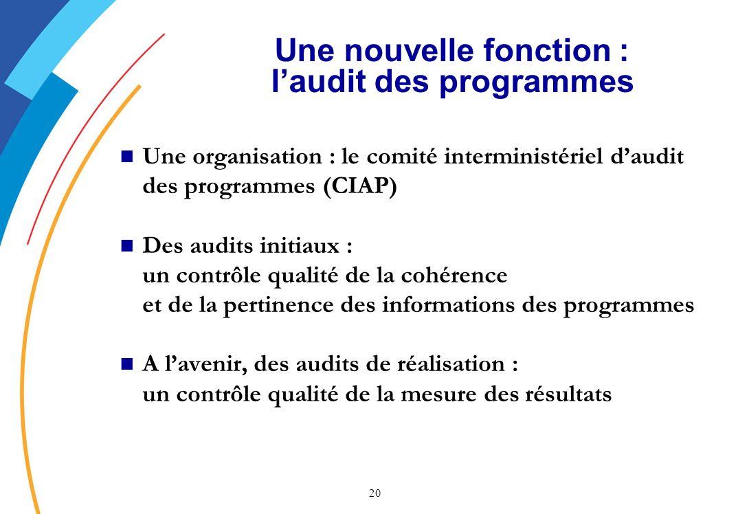 Une nouvelle fonction : l'audit des programmes