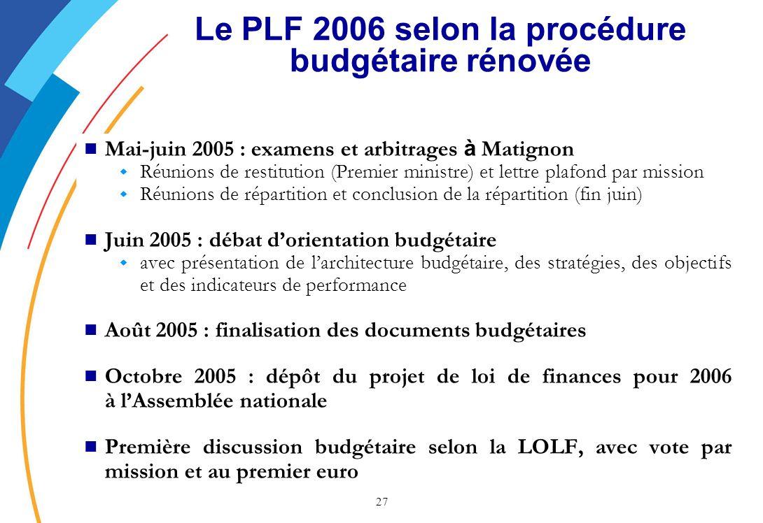 Le PLF 2006 selon la procédure budgétaire rénovée
