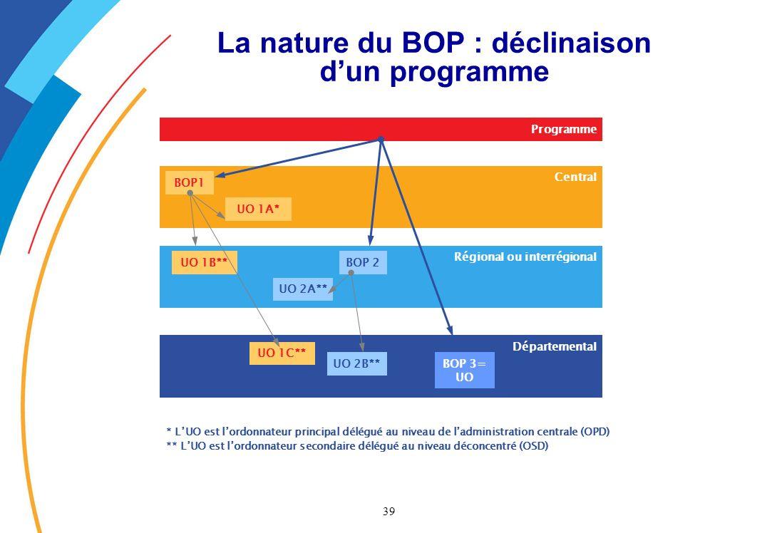 La nature du BOP : déclinaison d'un programme