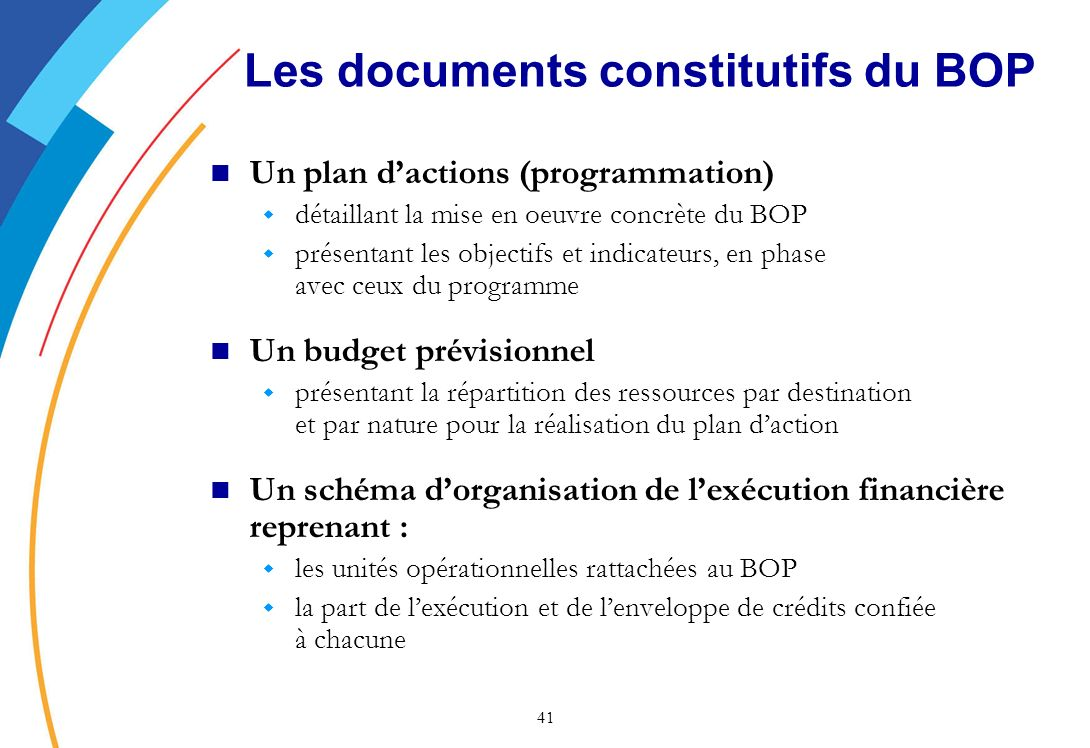 Les documents constitutifs du BOP