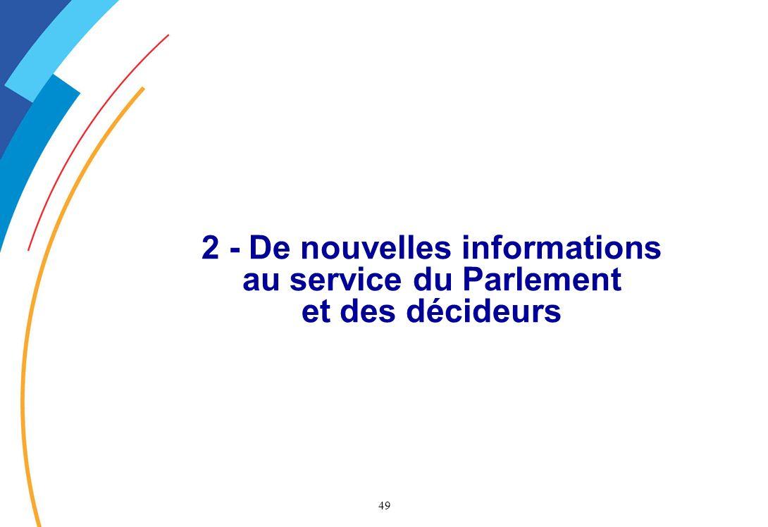 2 - De nouvelles informations au service du Parlement et des décideurs
