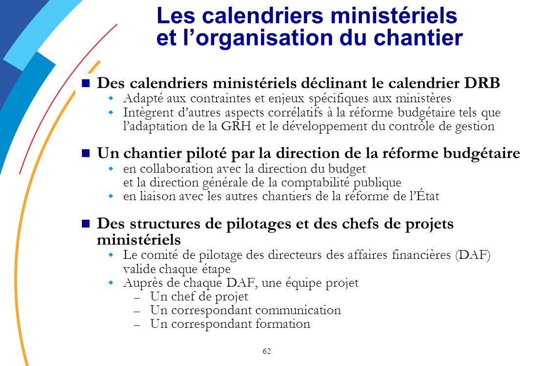 Les calendriers ministériels et l'organisation du chantier