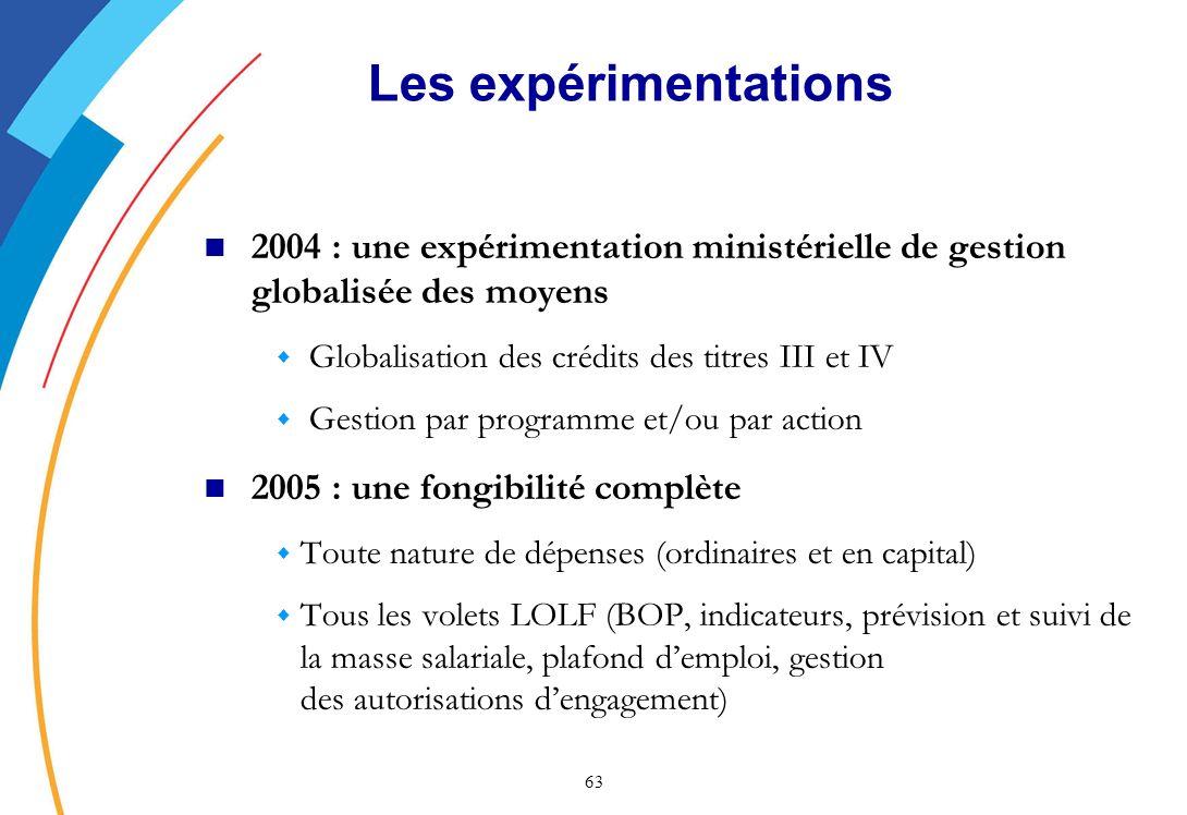 Les expérimentations 2004 : une expérimentation ministérielle de gestion globalisée des moyens. Globalisation des crédits des titres III et IV.