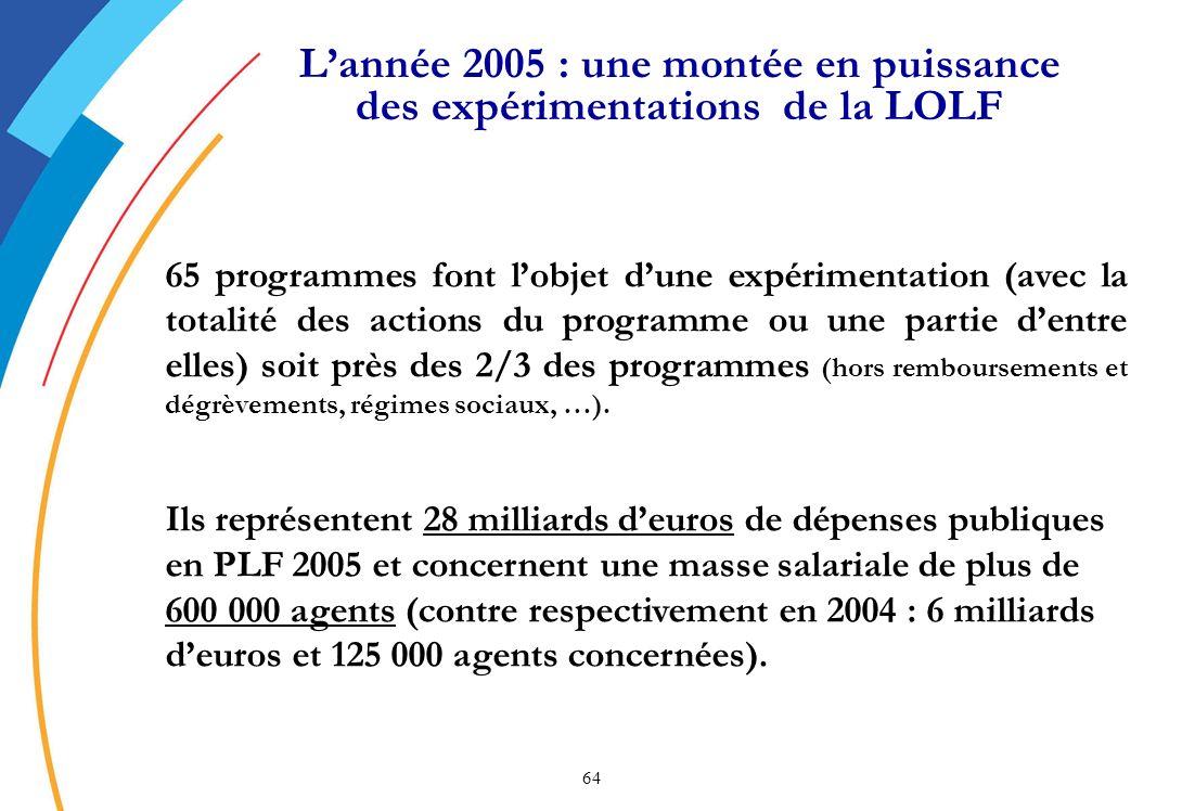 L'année 2005 : une montée en puissance des expérimentations de la LOLF