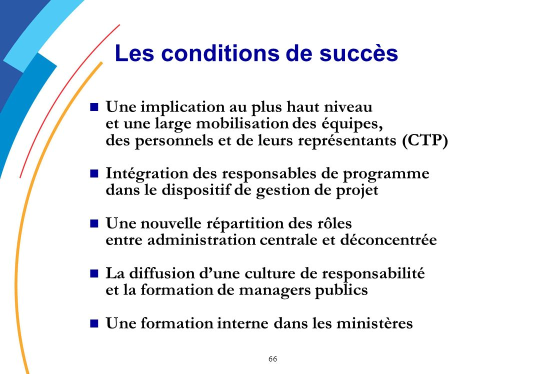 Les conditions de succès