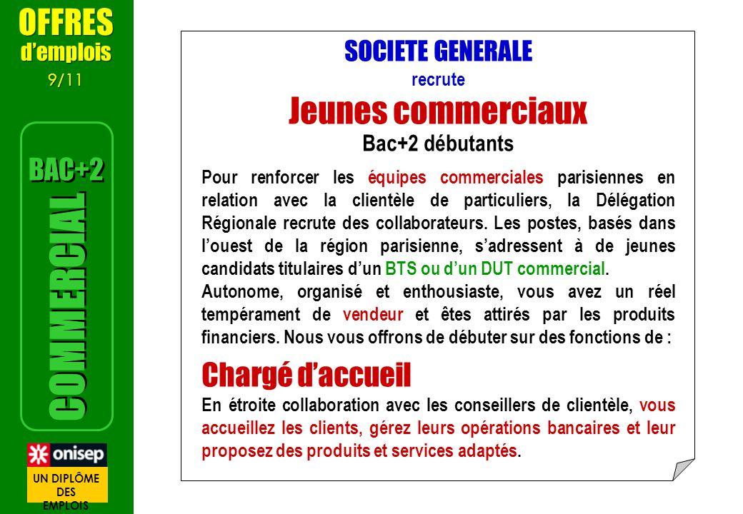 Jeunes commerciaux COMMERCIAL OFFRES Chargé d'accueil BAC+2