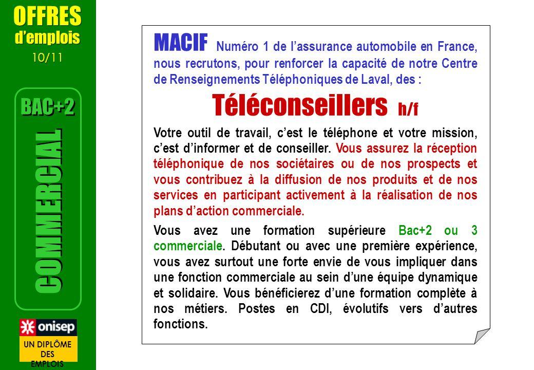 Téléconseillers h/f COMMERCIAL OFFRES