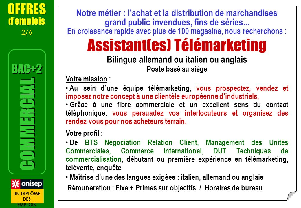 Assistant(es) Télémarketing