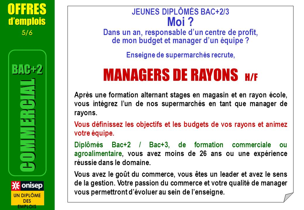 MANAGERS DE RAYONS H/F COMMERCIAL OFFRES Moi BAC+2 d'emplois