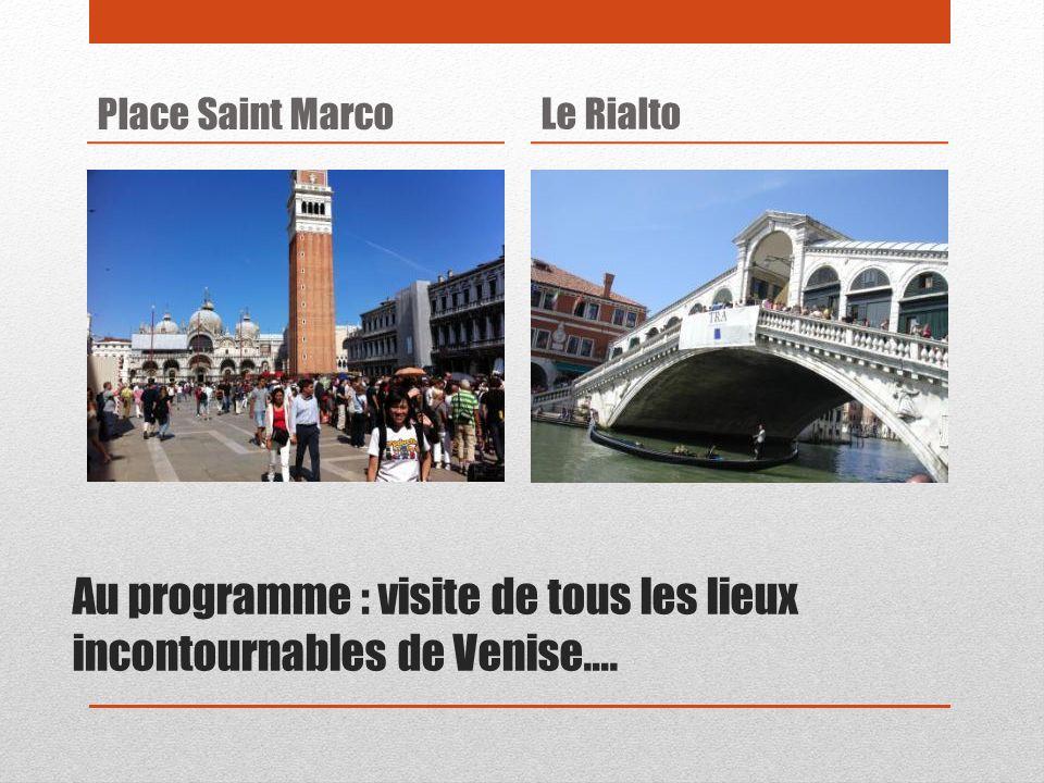 Au programme : visite de tous les lieux incontournables de Venise….