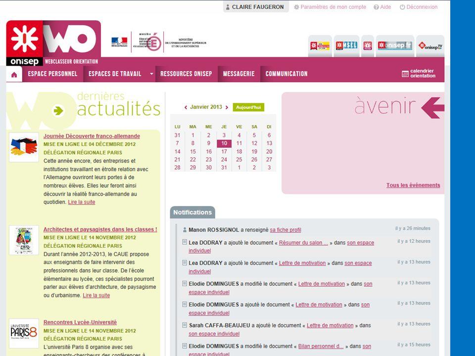Page d accueil Actualités : mises en ligne par l onisep et par l équipe éducative. Ex : salon.
