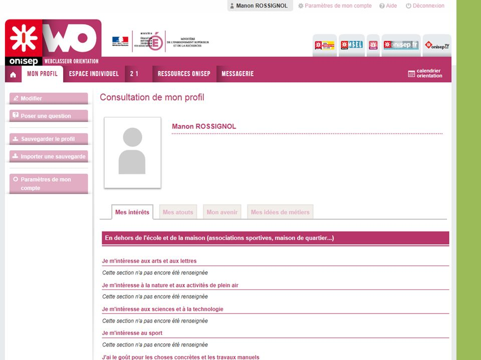 Mon profilC est une présentation de l élève, un peu comme une carte d identité orientation.