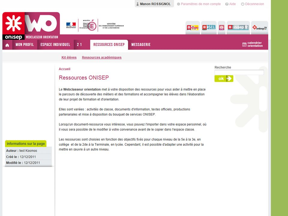 Ressources Onisep