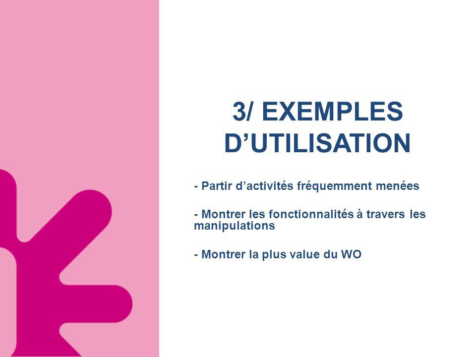 3/ EXEMPLES D'UTILISATION
