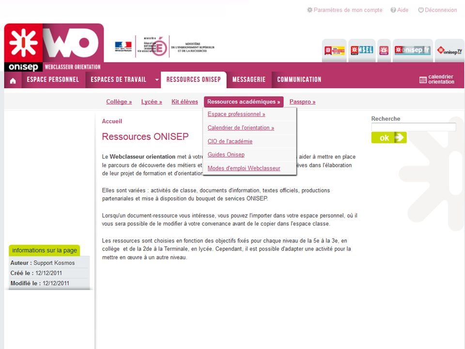 Ressources OnisepRessources académiques : informations et outils mis à disposition par la dro en accord le rectorat.