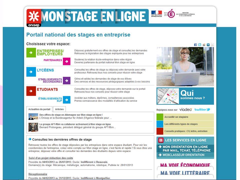 Mon stage en ligne Site dédié à l'aide à la recherche de stage. 2 espaces: Lycéens et Etudiants.