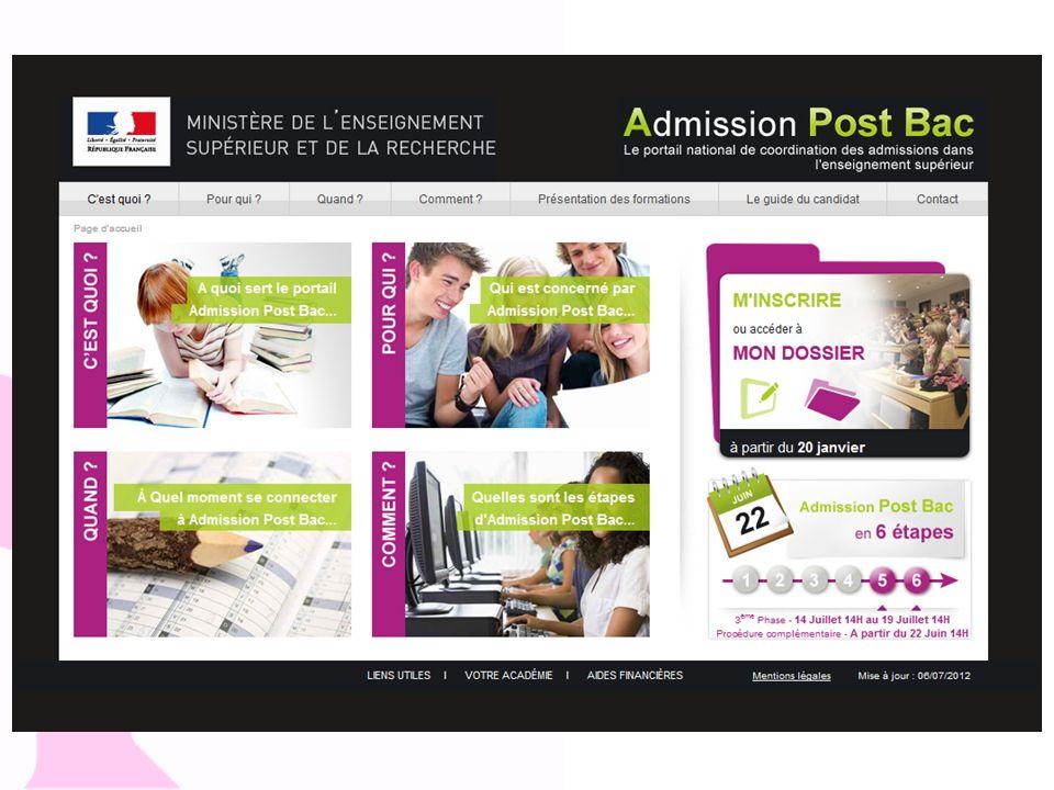 Admission post bac Site d'information sur la procédure informatisée « Amission post bac. 4 entrées : C'EST QUOI, POUR QUI, QUAND, COMMENT.
