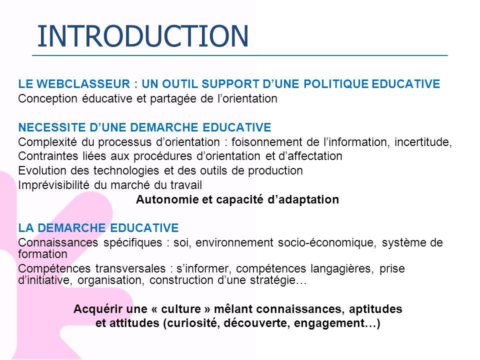 INTRODUCTIONLE WEBCLASSEUR : UN OUTIL SUPPORT D'UNE POLITIQUE EDUCATIVE. Conception éducative et partagée de l'orientation.