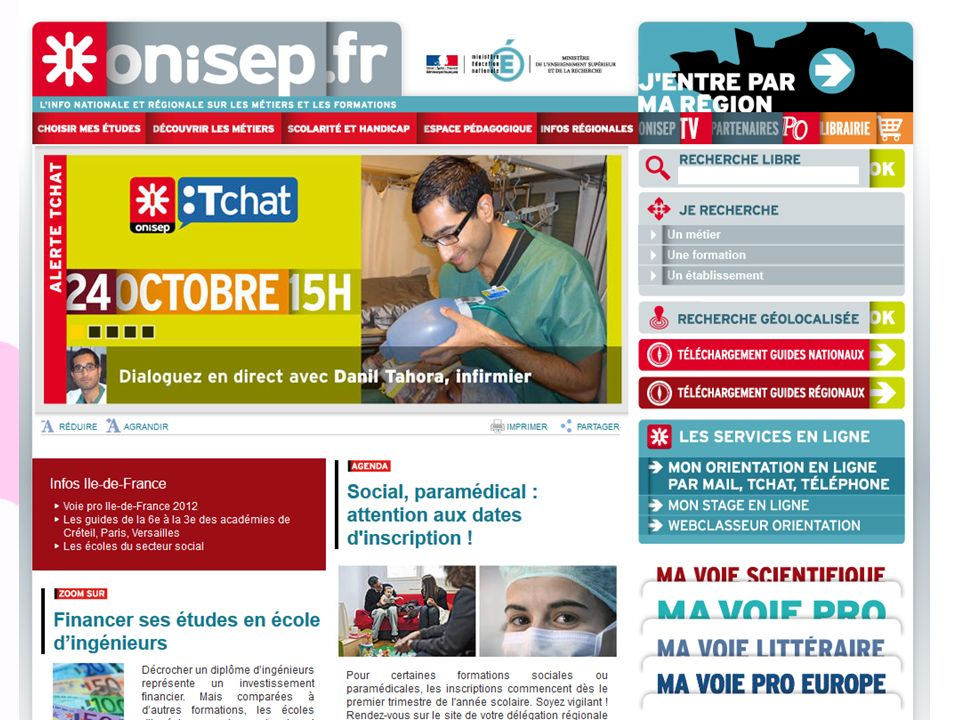 Onisep.fr Site national d'information accès au site régional. Choisir mes études / Découvrir les métiers/ Scolarité et handicap /