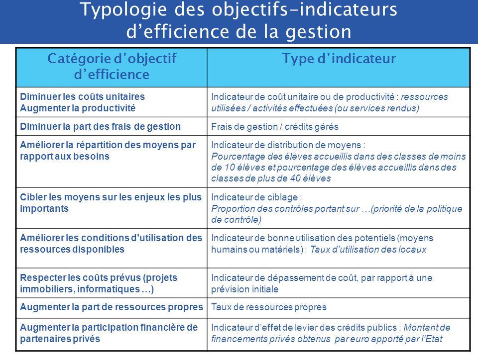 Typologie des objectifs-indicateurs d'efficience de la gestion