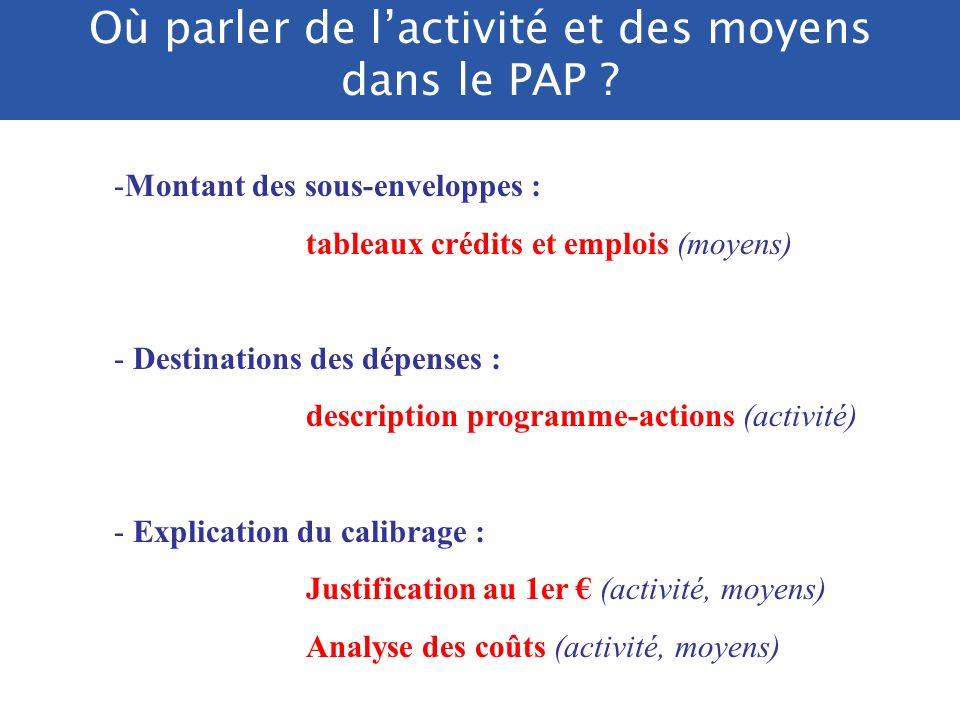 Où parler de l'activité et des moyens dans le PAP