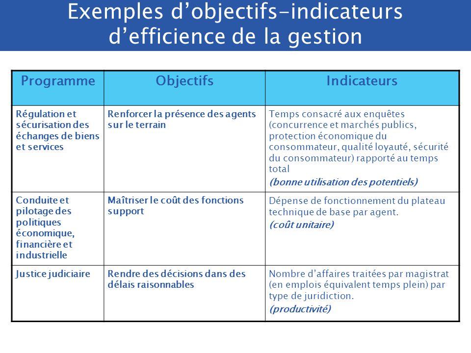 Exemples d'objectifs-indicateurs d'efficience de la gestion
