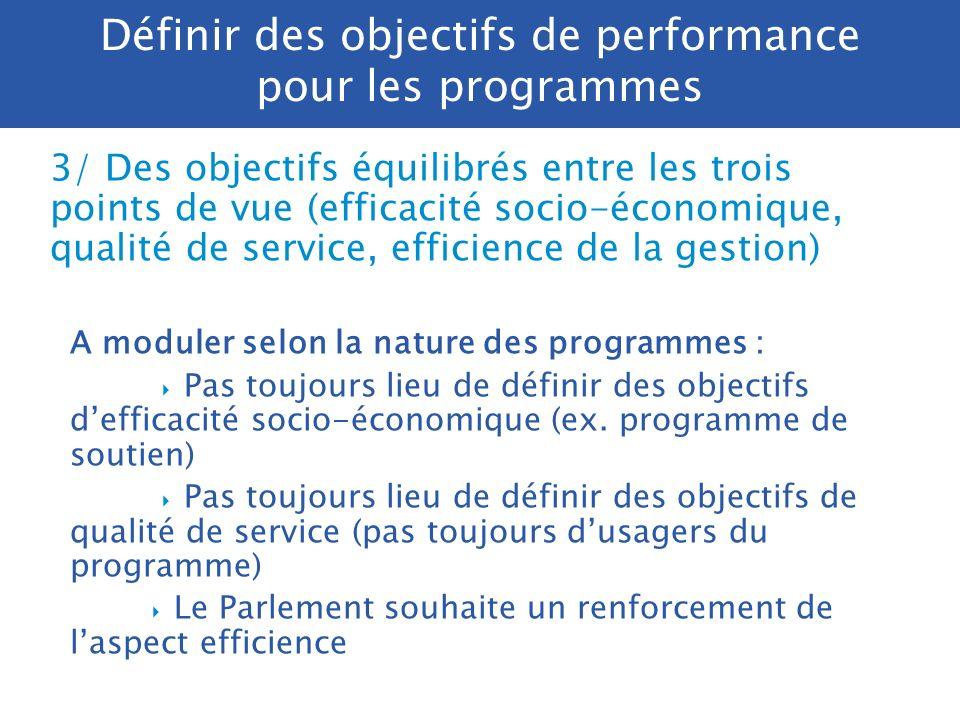 Définir des objectifs de performance pour les programmes