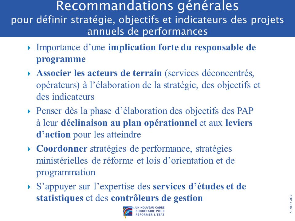 Recommandations générales pour définir stratégie, objectifs et indicateurs des projets annuels de performances