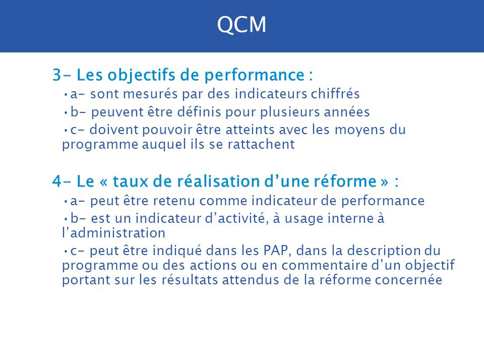 QCM 3- Les objectifs de performance :