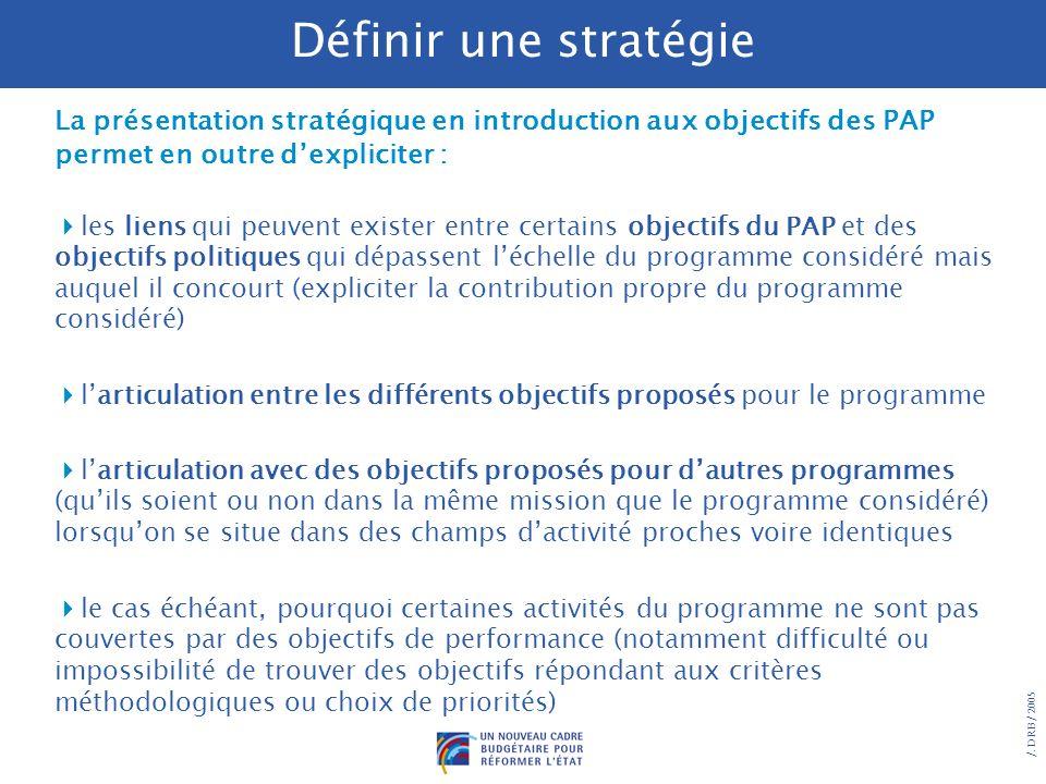 Définir une stratégie La présentation stratégique en introduction aux objectifs des PAP permet en outre d'expliciter :