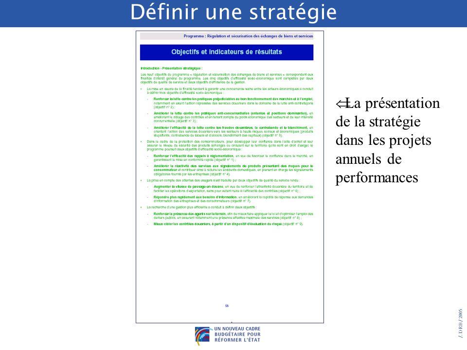 Définir une stratégie La présentation de la stratégie dans les projets annuels de performances